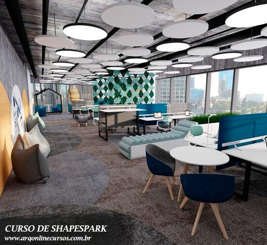 curso de shapespark e passeio virtual escritório cadeira azul