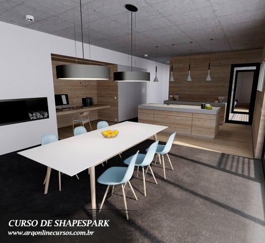 curso de shapespark para passeio virtual e interatividade cozinha