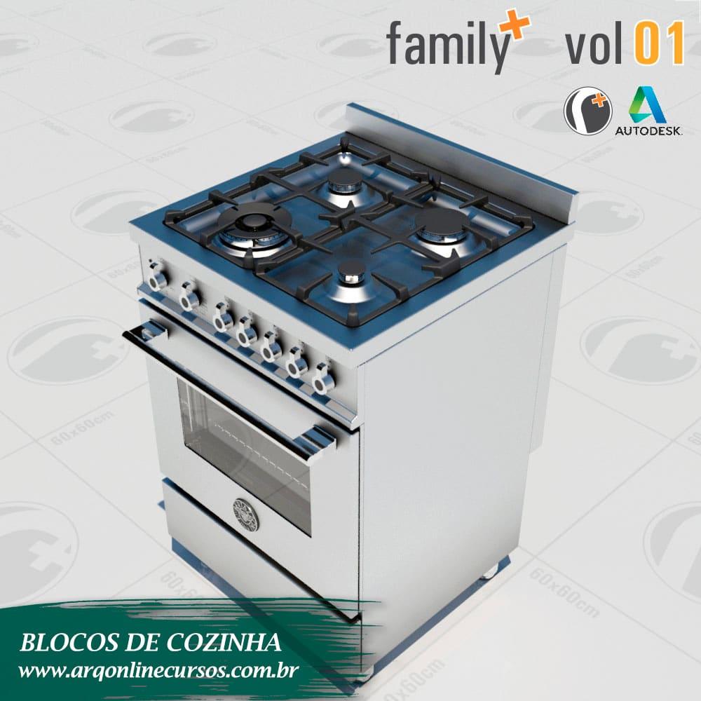 biblioteca de blocos de cozinha para revit fogão render branco