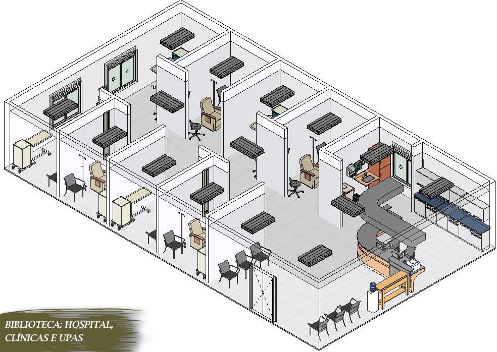 biblioteca de clínicas para revit visão 3D