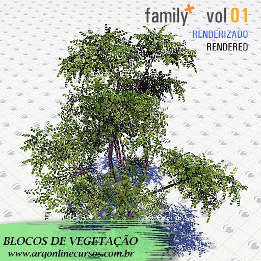 biblioteca de famílias de vegetação para revit render planta