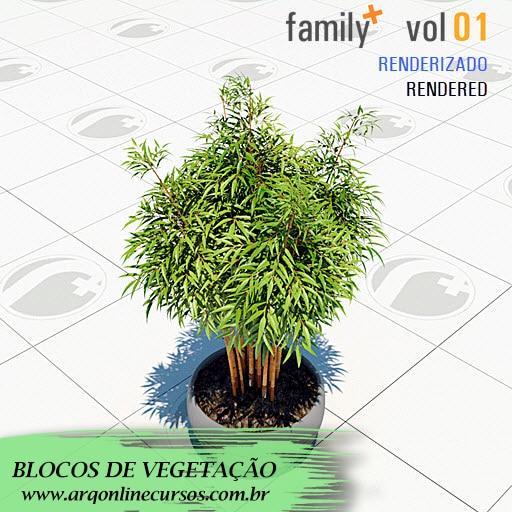 biblioteca de famílias de vegetação para revit vaso com planta