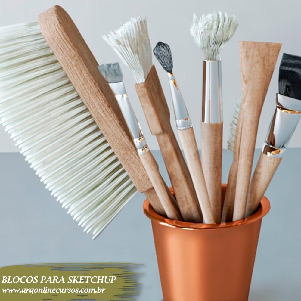 biblioteca sketchup bloco escova de cabelo