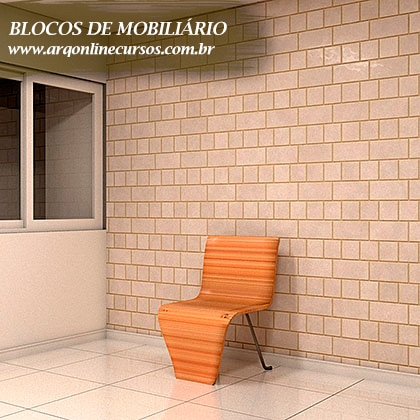 bibliotecas de famílias de mobiliário para revit cadeira laranja