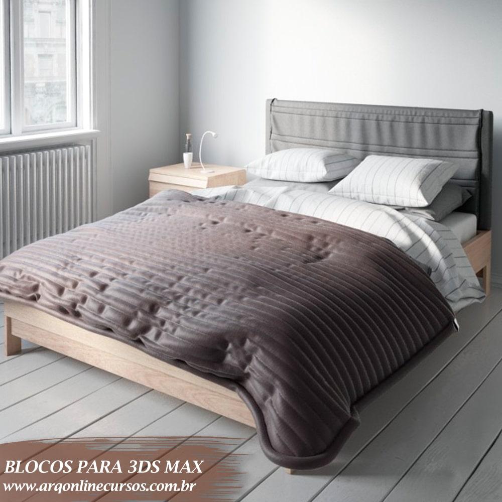 bloco cama render completo 3ds max