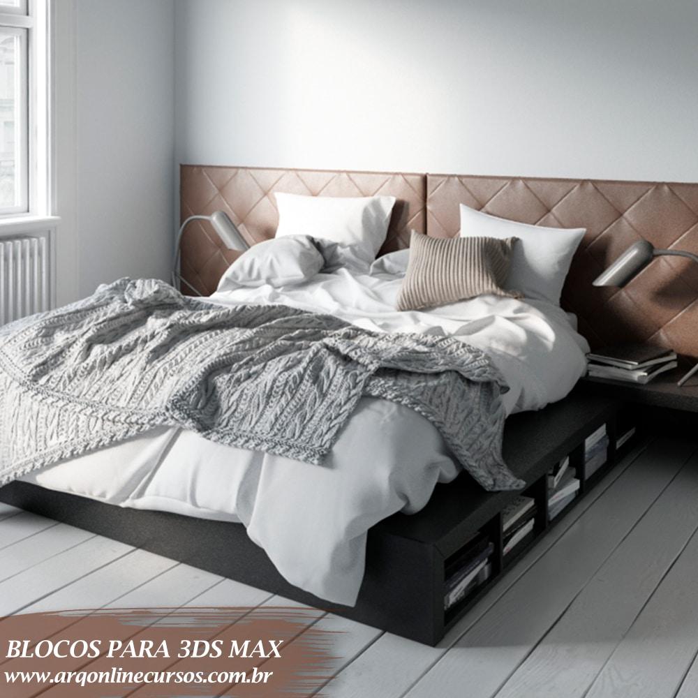 bloco cama detalhes lado preto 3ds max
