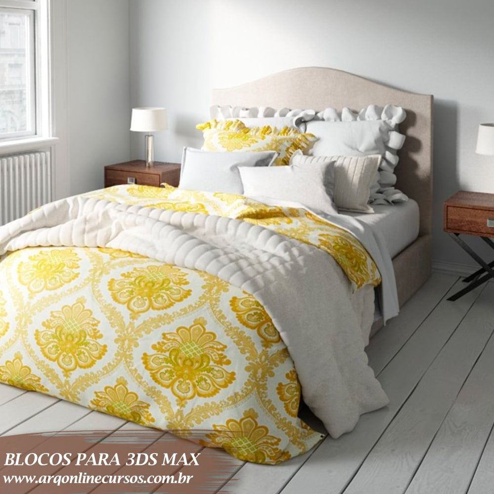 bloco cama amarela grande 3ds max