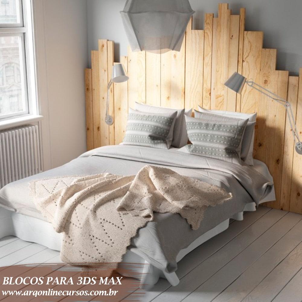 bloco cama madeira parede 3ds max
