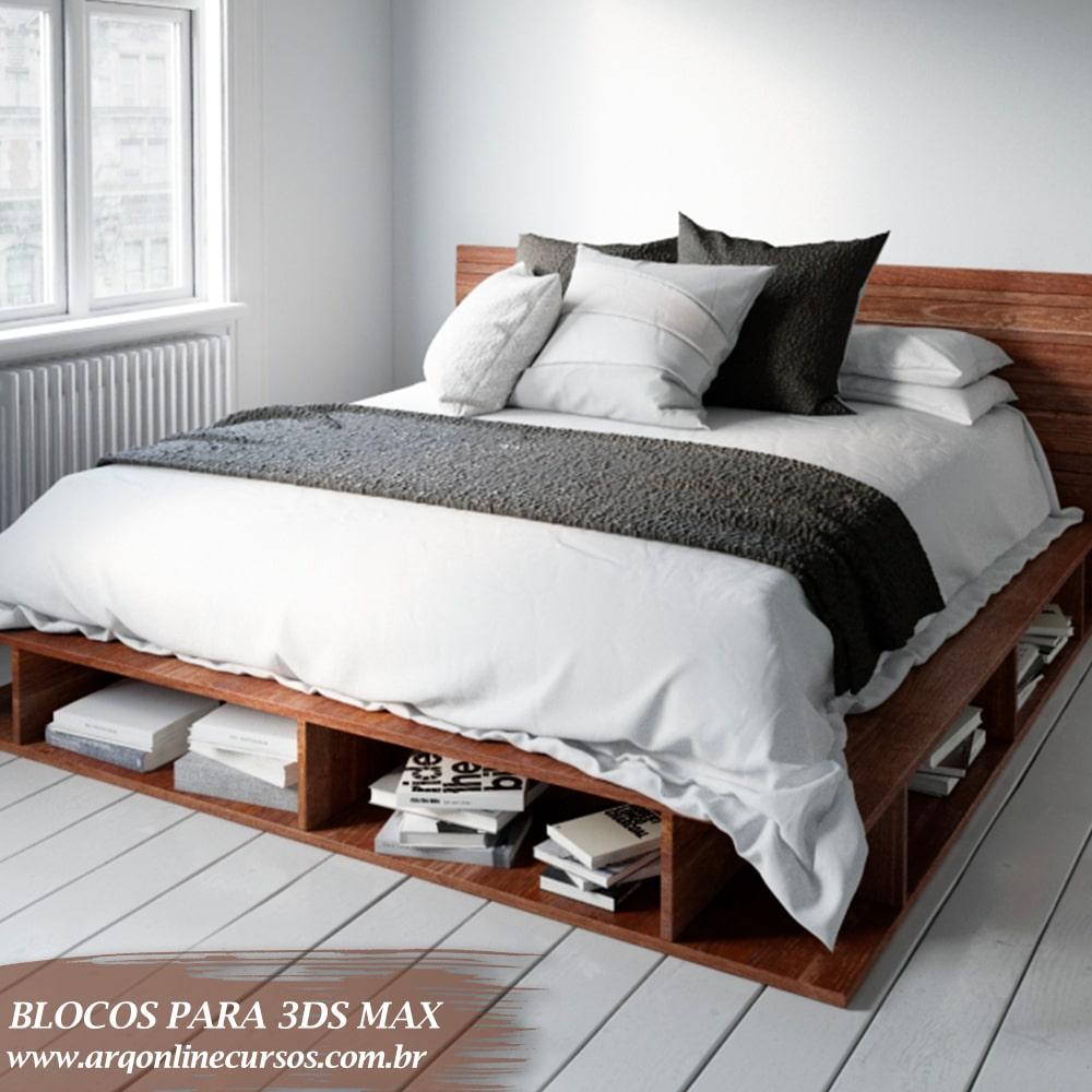 bloco cama suporte baixo 3ds max