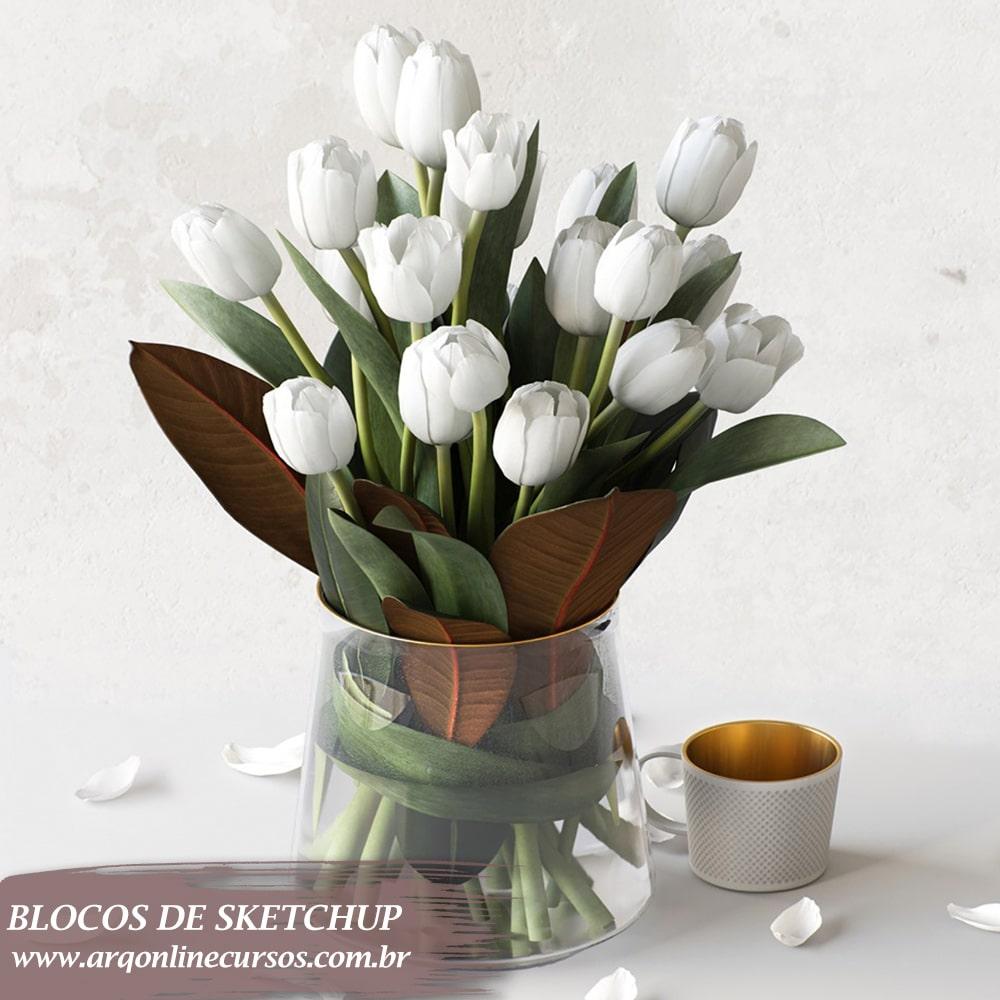 bloco arranjo de flores sketchup