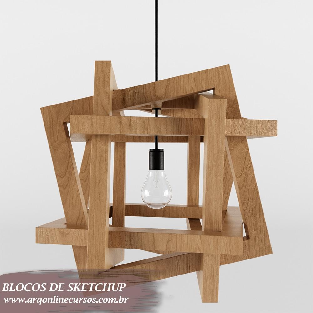 bloco design moderno iluminação sketchup