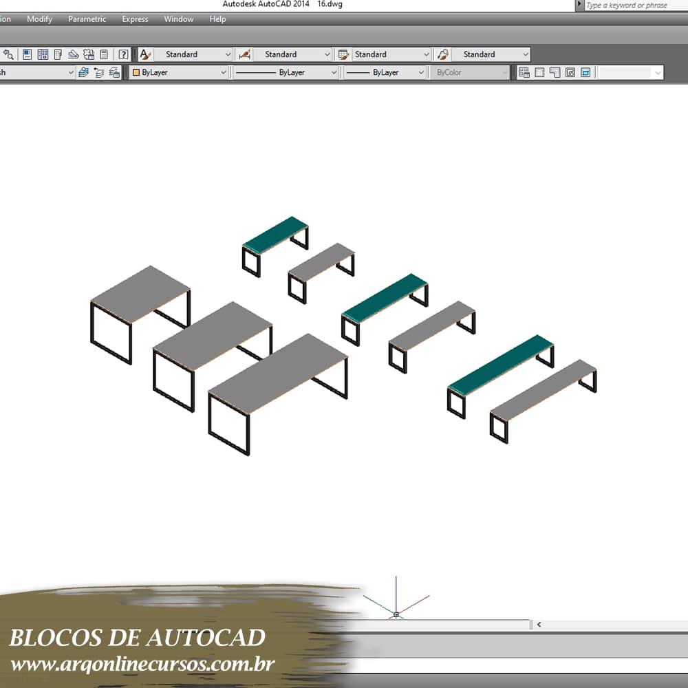 blocos mesas cinzas para autocad