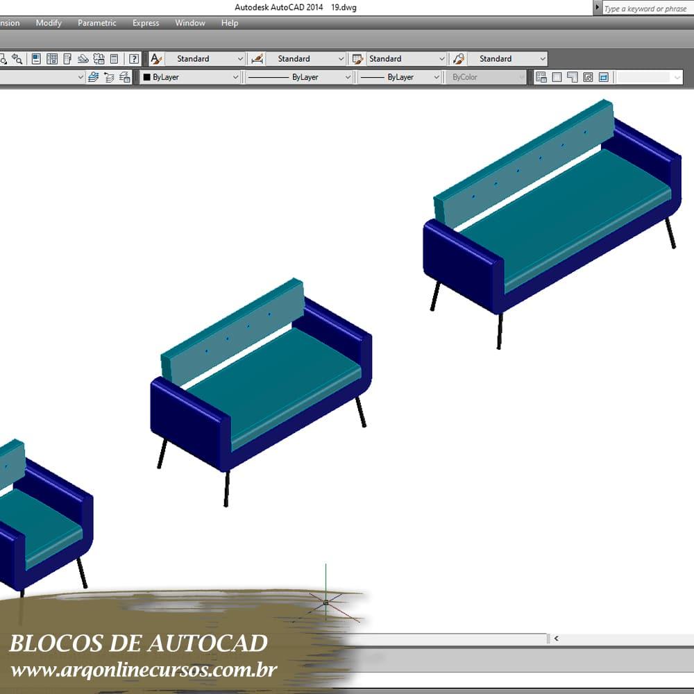 blocos sofá azul para autocad