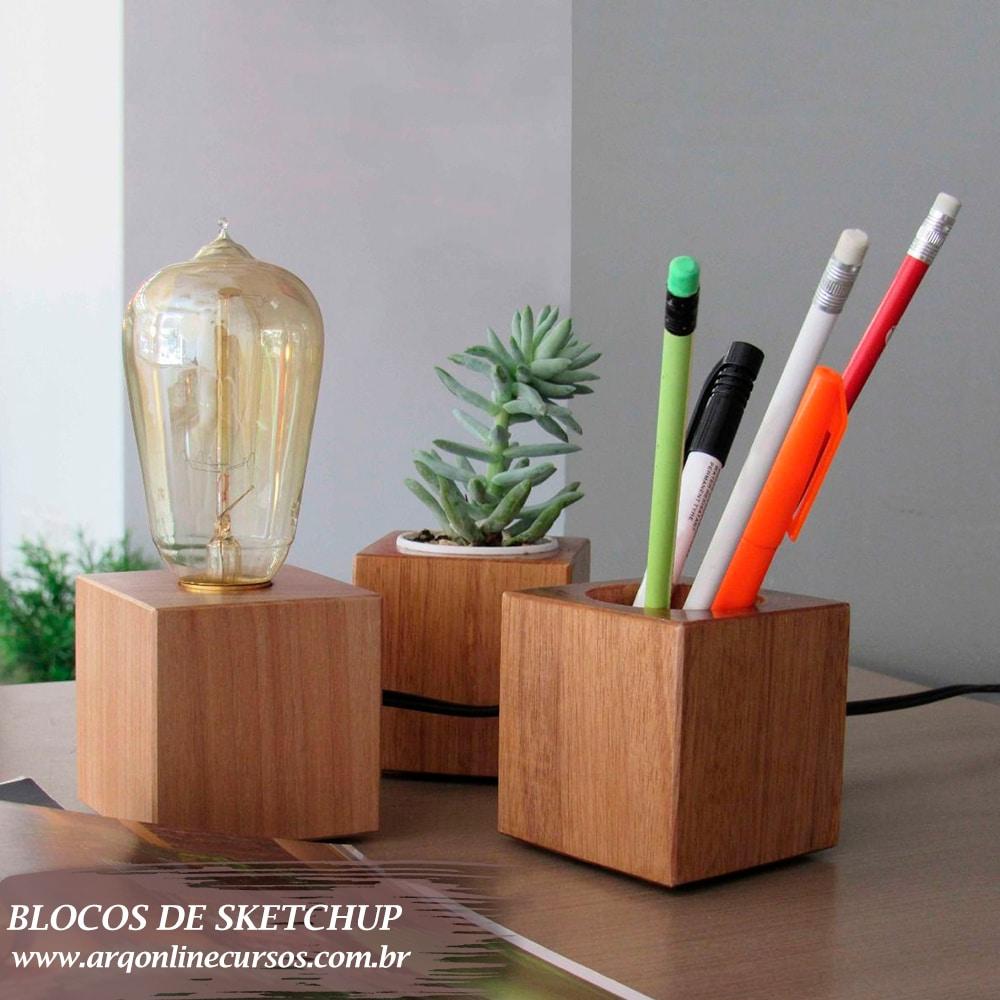 bloco iluminação com lápis decorativo sketchup