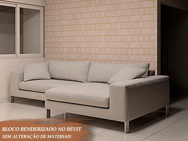 sofá em formato de L branco renderizado para Revit