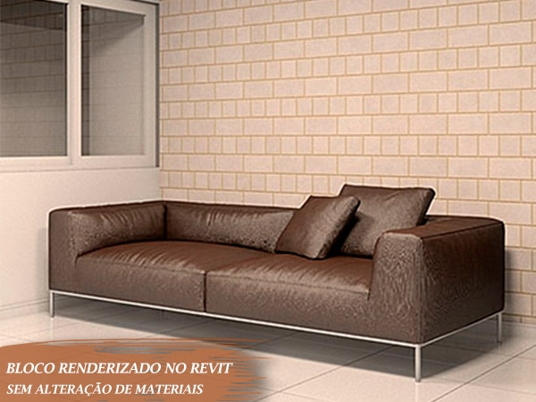 sofá tamanho médio 2 lugares marrom para revit