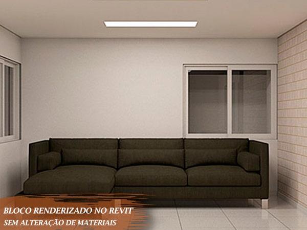 sofá tamanho grande 3 lugares renderizado no revit