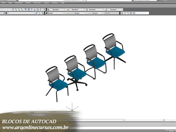 blocos de autocad cadeira azul