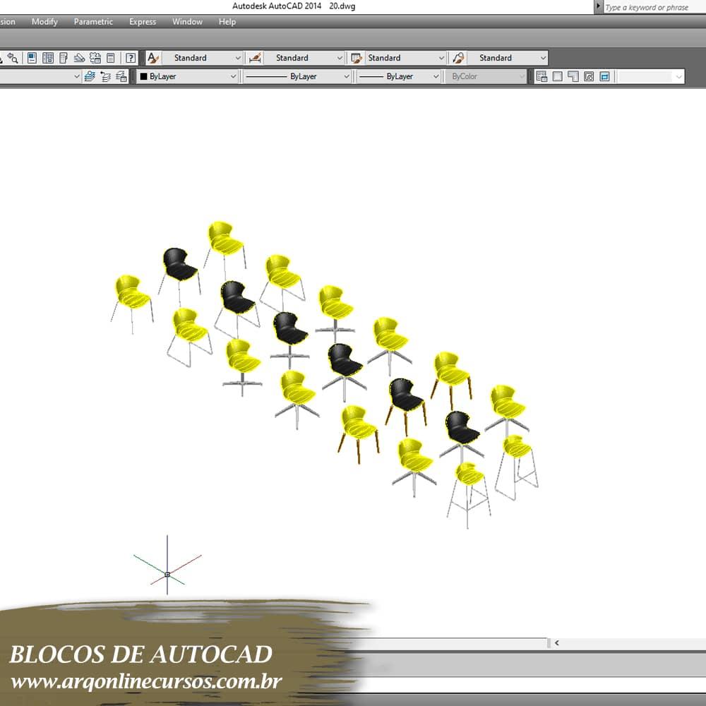 blocos cadeiras amarelas para autocad