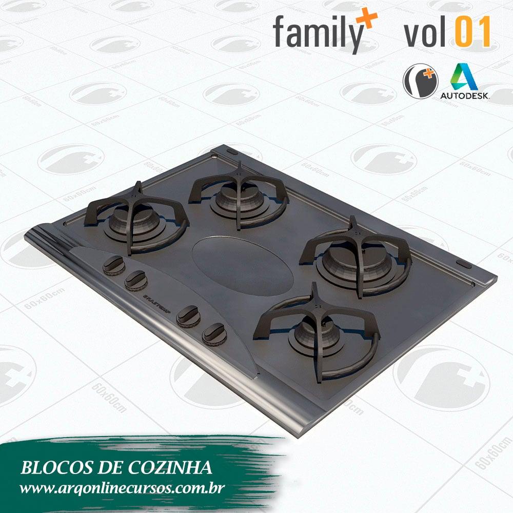 blocos de cozinha para revit cooktop 4 bocas