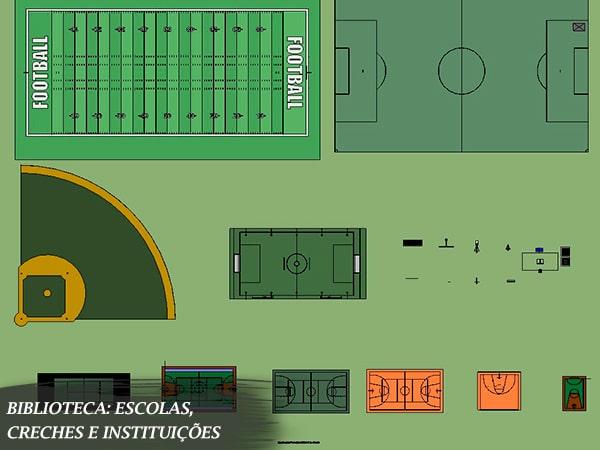 blocos de escola para revit campos de futebol