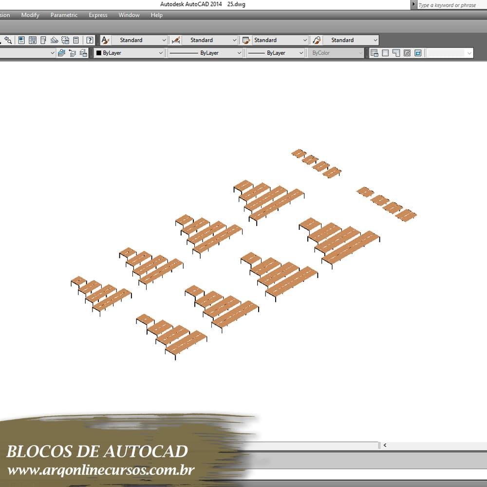 mesas em madeira para autocad