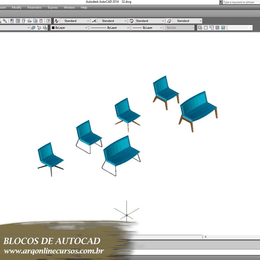 blocos de mesas e cadeiras azul para autocad