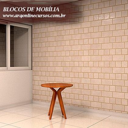 blocos de mobília mesa laranja