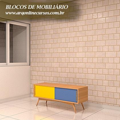 blocos de mobiliário para revit aparador madeira duas cores