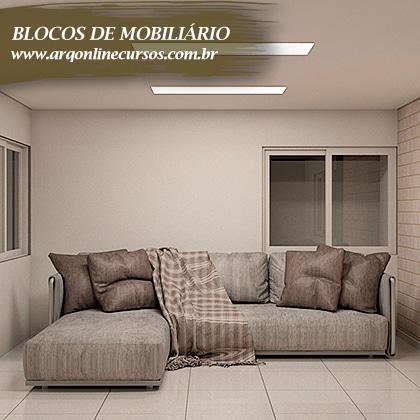 blocos de mobiliário para revit sofá cinza