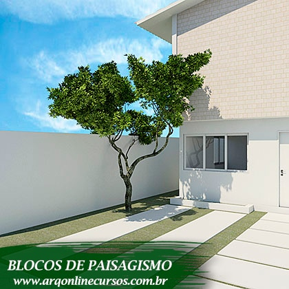 blocos de paisagismo para revit render árvore média