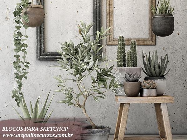 blocos decoração de plantas para sketchup