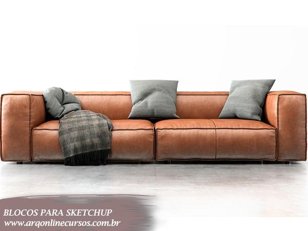 bloco sofá 2 lugares sketchup