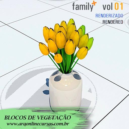 blocos de vegetação vaso cerâmica com flor amarela