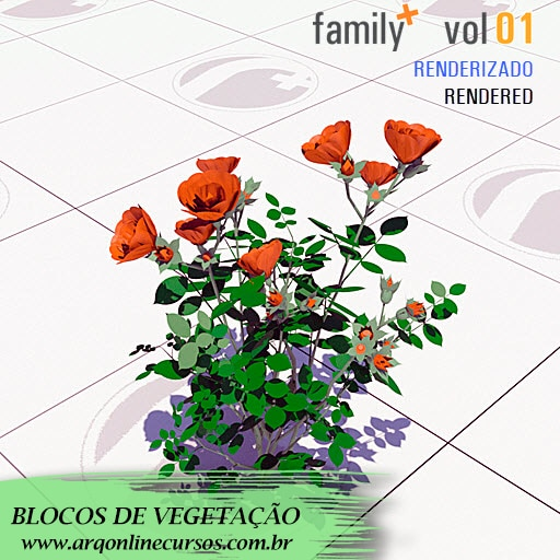 blocos de vegetação flores vermelhas no revit