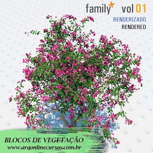 blocos de vegetação para revit árvore