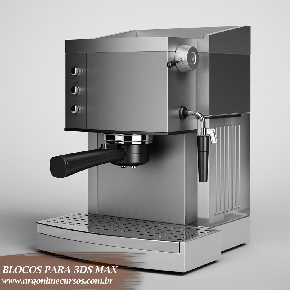 blocos para 3ds max cafeteira render cor cinza