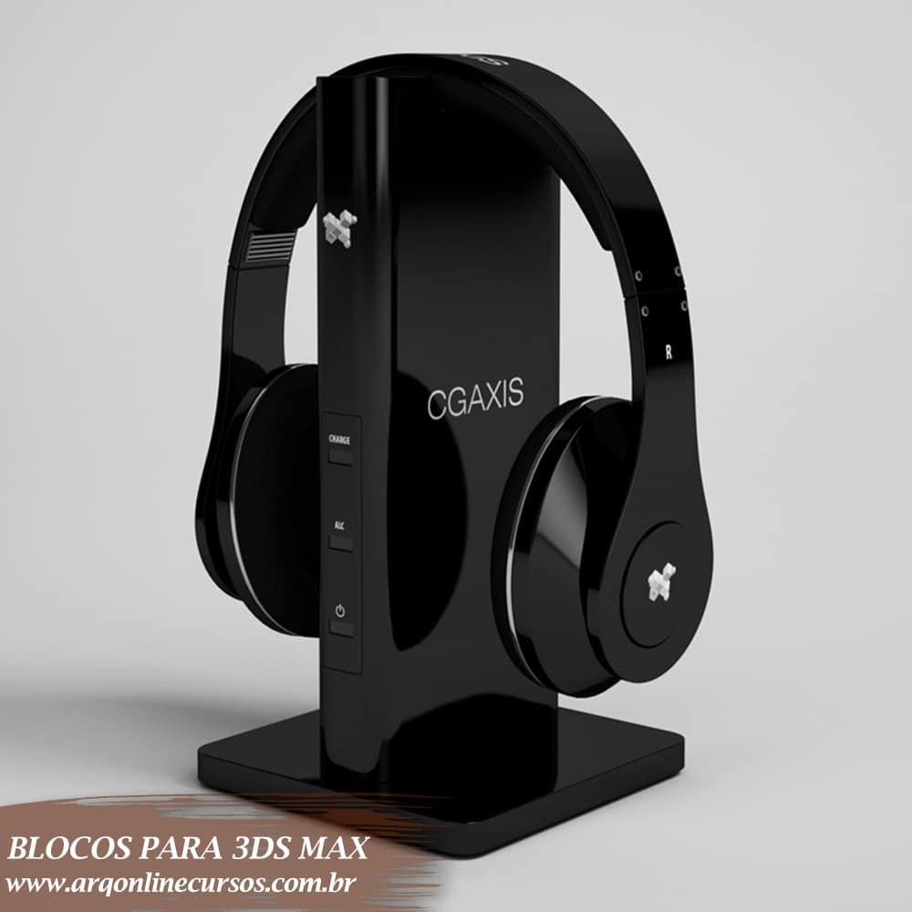 blocos para 3ds max celular com fone de ouvido