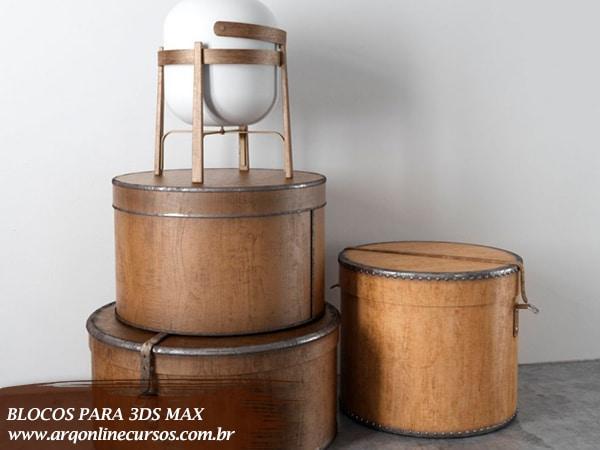 blocos renderizados para 3ds max caixa marrom decoração