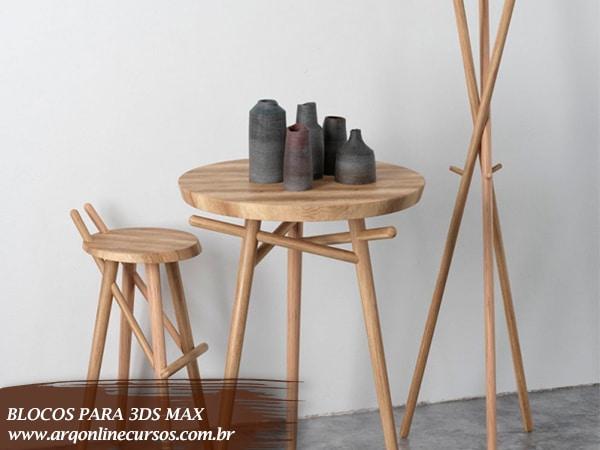blocos renderizados para 3ds max mesa e cadeira