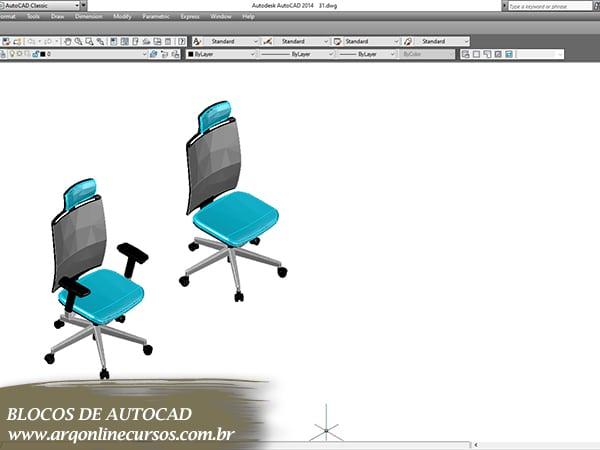 cad blocos conjunto cadeiras azuis