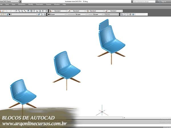 cad blocos cadeira azul escritório
