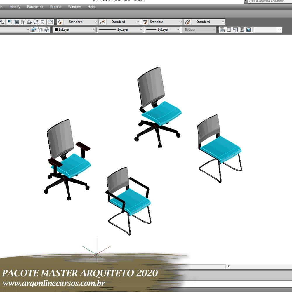 cad blocos 3d cadeira azul