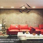 cenas renderizadas para sketchup interna sofá vermelho