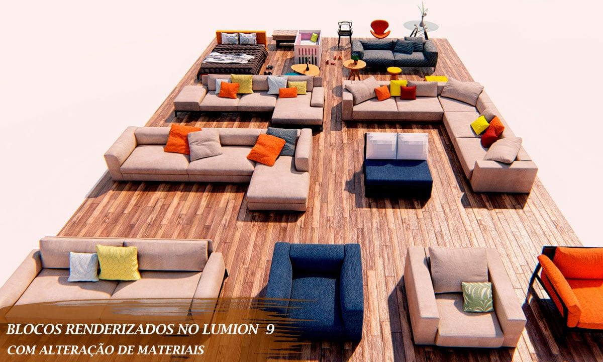 conjunto de sofá cadeiras e itens para revit
