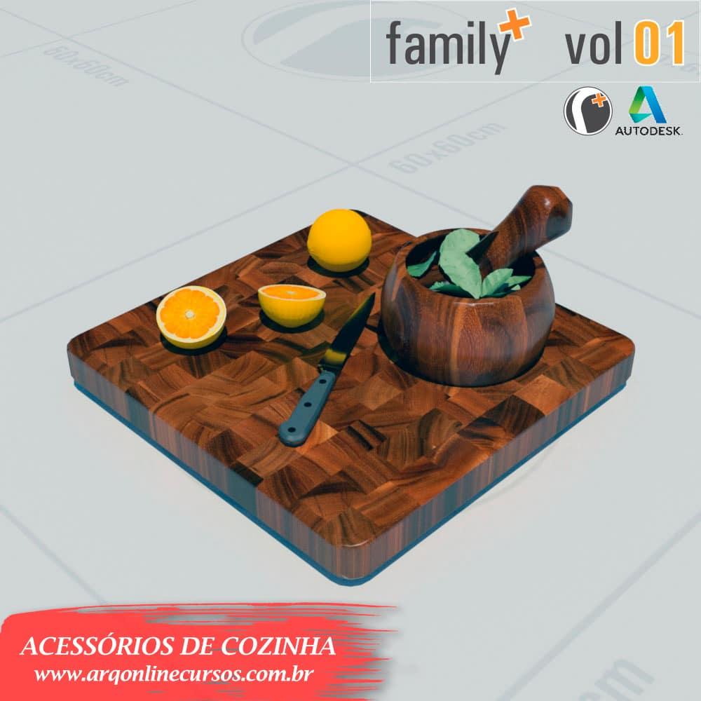 famílias de acessórios de cozinha para revit tábua de frutas
