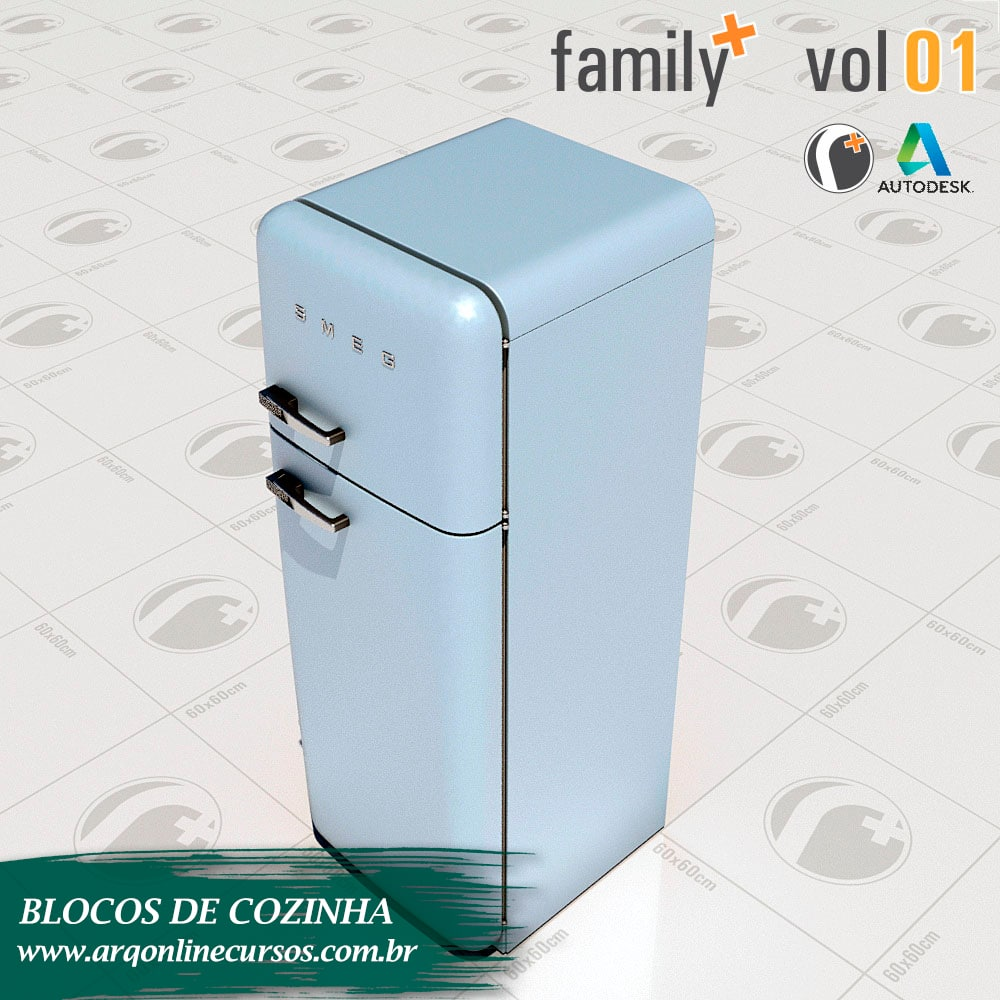 famílias de cozinha para revit geladeira renderizada