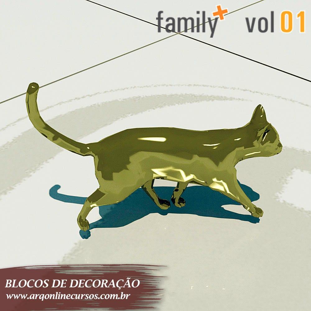 estátua gato dourado revit