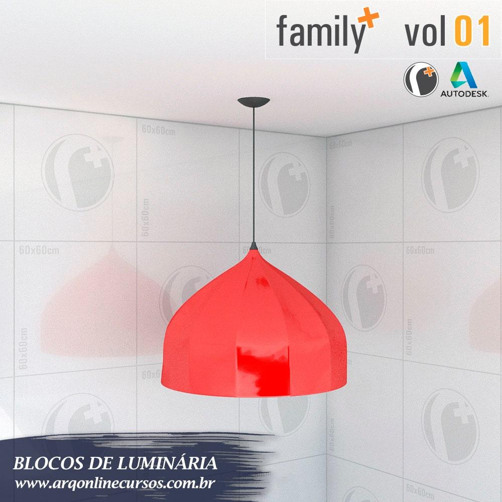 famílias de luminária para revit render vermelha