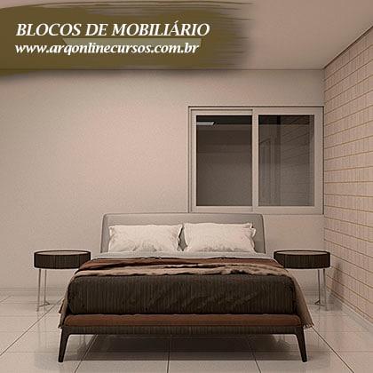 famílias de mobiliário render casal cama